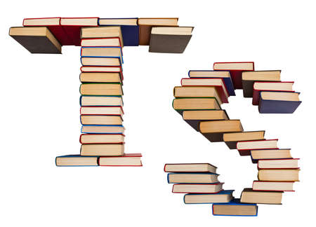Alphabet made out of old books, letters T and S Stock Photo