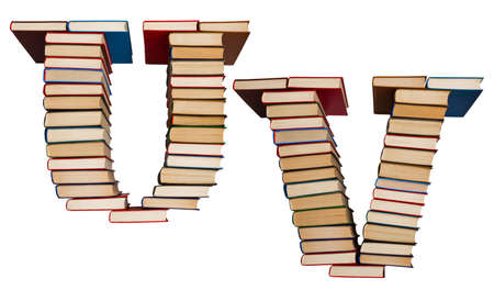 Alphabet made out of old books, letters U and V