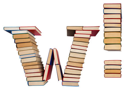 Alphabet made out of old books, letter W and exclamation mark