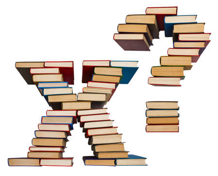 Alphabet made out of old books, letters X and question mark Stock Photo