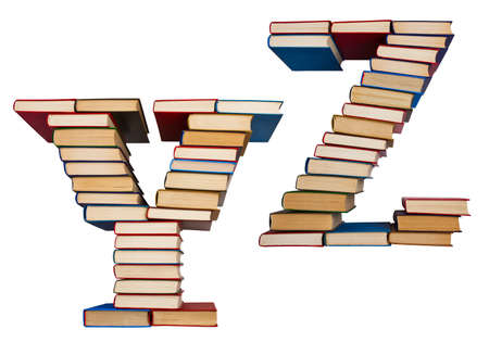 Alphabet made out of old books, letters Y and Z