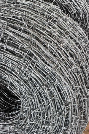 close up a roll of barbed wire Stock Photo