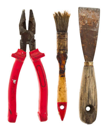 Collection of old tools isolated on white photo
