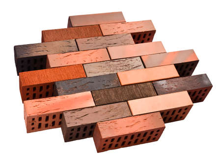 Collection of facing red bricks isolated included clipping path Stock Photo