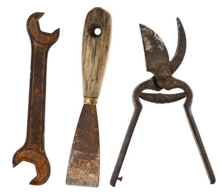 Collection of old tools isolated on white