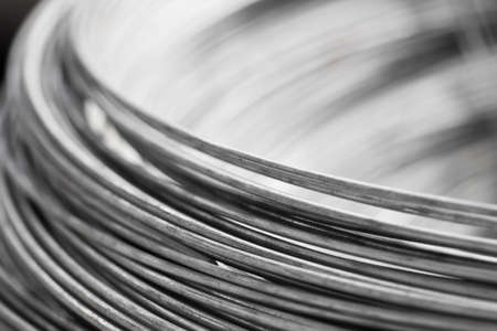 steel cable: close up a roll of steel wire Stock Photo