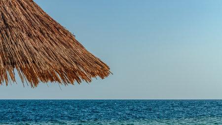 Beach umbrella and nice seaview on sunny day