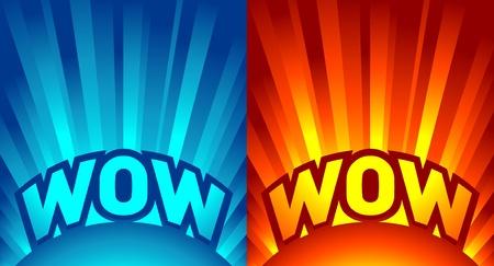 wow: rayos de luz con texto