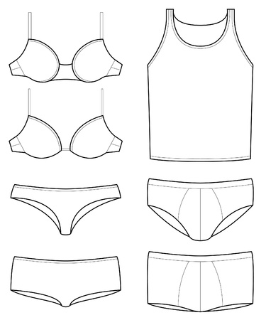 boxer: underwear templates Illustration