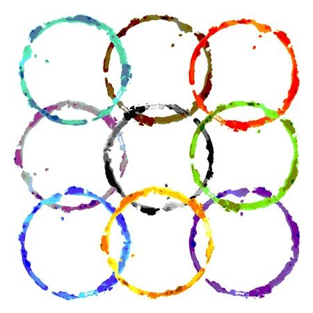 spillage: grunge anillos de color Vectores