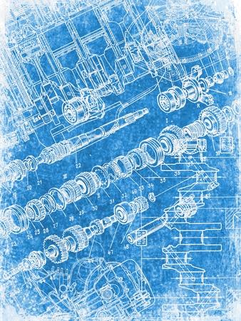 grunge interior: grunge blueprint texture