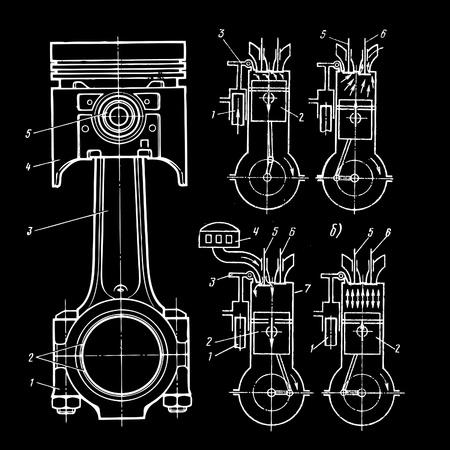 set of blueprints of pistons on black
