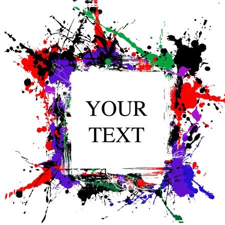 splutter: coloured grunge art frame of blots and stains