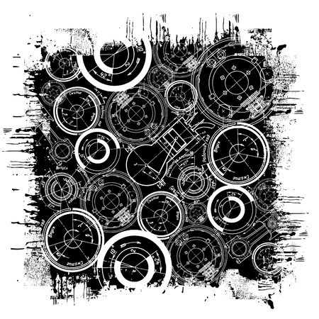 abstract technical drawing in grunge black square Vector