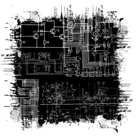electronics industry: abstract technical drawing in grunge black square
