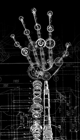 art illustration of human hand of many mechanisms Illustration