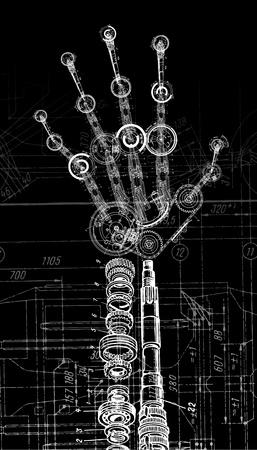 art illustration of human hand of many mechanisms Vector