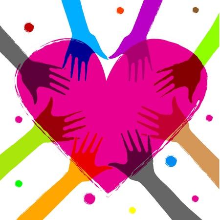 donor: Ilustraci�n de coraz�n con manos humanas en �l
