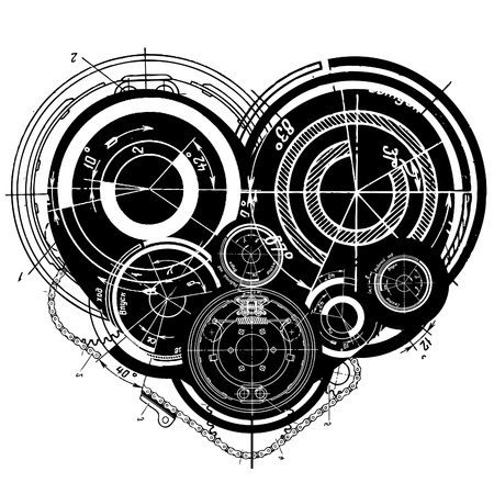 art illustration of heart with many mechanisms Vector