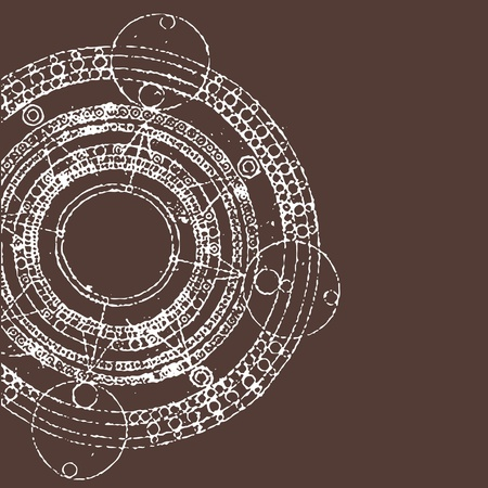 indigenous: vector illustration of grunge round maya calendar