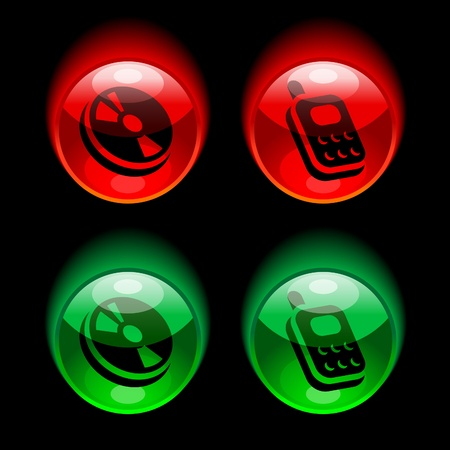 mob: red and green glossy buttons with pictograms of cd disc and mobile phone