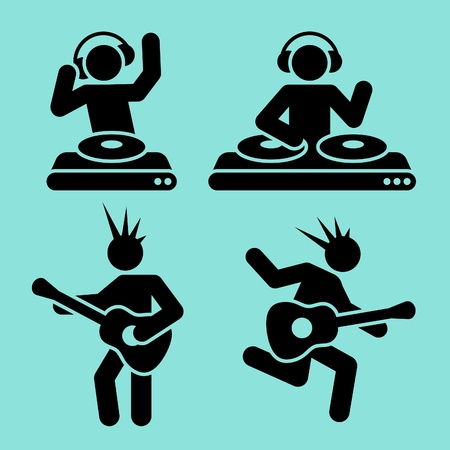 black music pictograms of dj and guitar player Vector