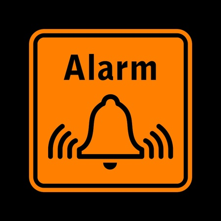 vector orange pictogram of alarm sign isolated on black