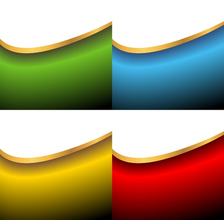set of abstract vector backgrounds of green, red, golden and blue colors Stock Vector - 9510984