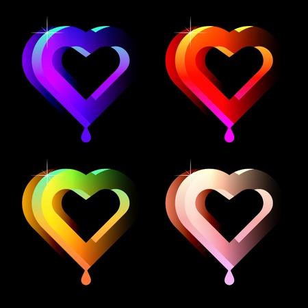 smooch: conjunto de corazones jugosas de vector aislados en negro