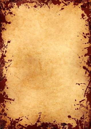 parchment sheet with grunge red ink frame Stock Photo - 9511294