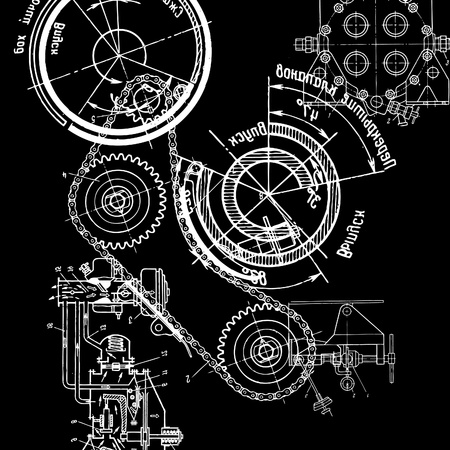 reconstrução: technical drawing or blueprint on black background