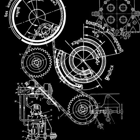 maschinen: Technische Zeichnung oder Blueprint auf schwarzem Hintergrund