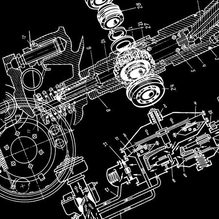 technical drawing on black background  Illustration