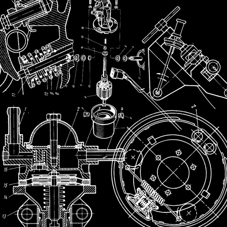 gearing: technical drawing  on black background
