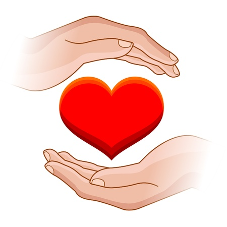 illustration of human hands with heart in it Stock Vector - 9511233