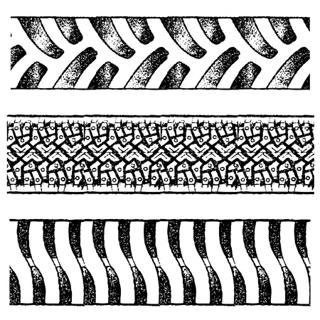 tyre tread: set of various black tire traces isolated on white