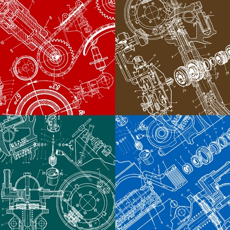technical drawing or blueprint on black background  Vector