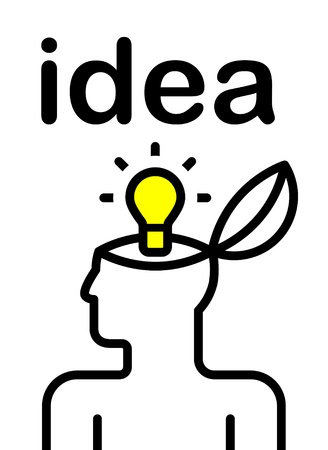 bulb idea: illustration of idea bulb in stylized human head
