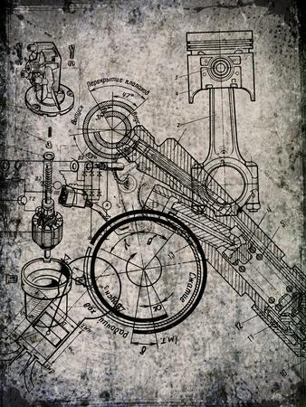 Old Grunge Pergament Blatt mit Blueprint darauf