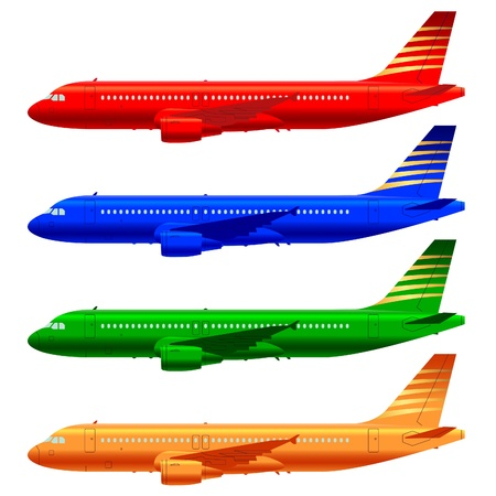 plane landing: color aircraft technical drawings in vector format