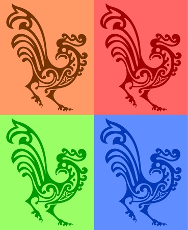 ornamental rooster or cock on white background Vector