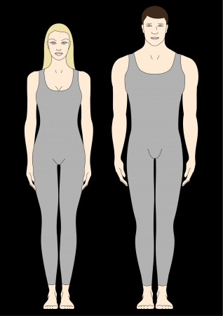 young girl underwear: male and female body templates in front view