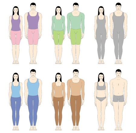 manikin: male and female body templates in front view
