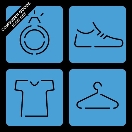 footware: consumer goods icon set on black background