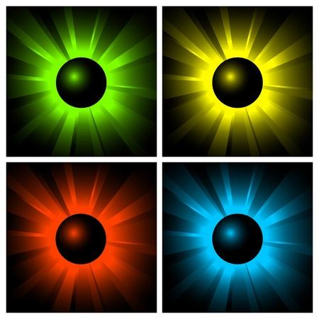 illustration of shining color balls on black Stock Vector - 9663653