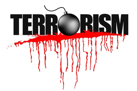 war on terror: illustration of terrorism headline with blood stain