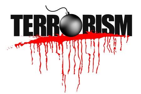 terrorists: illustrazione di titolo di terrorismo con la macchia di sangue
