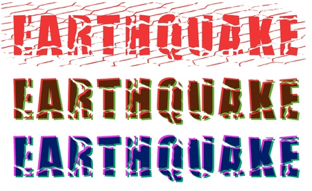 earthquake: color cracked earthquake word on white background