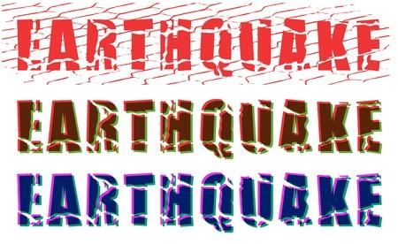 colore incrinato parola terremoto su sfondo bianco