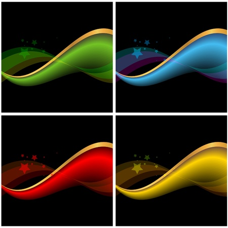 set of abstract banners on black backgrounds Stock Vector - 9663934